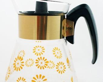 Carafe- Corning Yellow Floral Daisy Glass Mid Century Coffee Pot