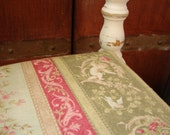 Vintage,shabby white-painted,beautiful turned wood ladder back chair,French cherub cameo fabric seat shabby chic,-