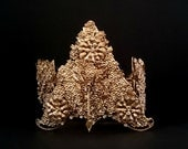 Vintage BRIDAL CROWN/Indonesian Ceremonial Wedding Headdress/Exotic Tribal Costume/Gold Gilt/Flowers/Bride/Dancer/Romantic Gift for Her