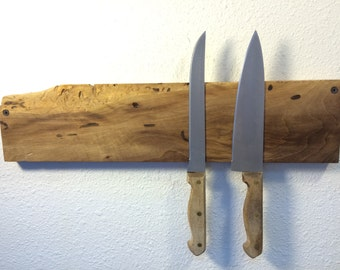 Live Edge Walnut Chef's Size Magnetic Knife Rack. Free U.S. shipping