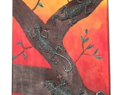 3D Collage of 3 Wire sculptured  Geckos Mounted onto an Acrylic painted Background on Canvas