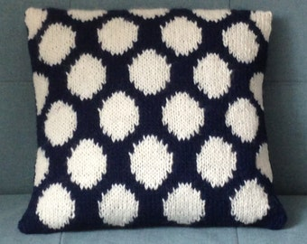 Blue And White Cushion, Pillow, Polka Dots, Knitted Pillow, UK Seller, Navy Blue, White,