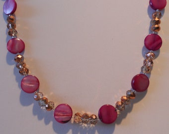 Mother of Pearl Deep Pink and Rose Gold Crystal Handmade Bead Necklace