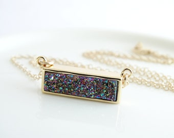 Rainbow Druzy bar necklace - Peacock Druzy Necklace  Agate Necklace - Titanium Druzy Quartz Necklace,