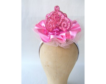 Headpiece Fascinator Pink Crown Fushia Steampunk Wedding Lolita Kawaii Costume Cosplay Edwardian Victorian Fairy Princess Fantasy Burlesque