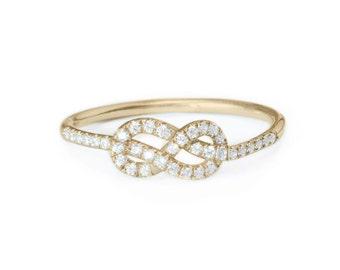 Petite Infinity Ring, Diamond Wedding Band, Solid Gold Infinity Knot Ring, Gold Wedding Ring, Cluster Ring, Gold Rings for Women