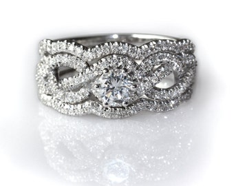 1.15 CT Infinity Engagement Ring With 2 Wedding Bands, Pave Diamond Ring, Cluster Ring, Art Deco Ring, Infinity Knot Ring