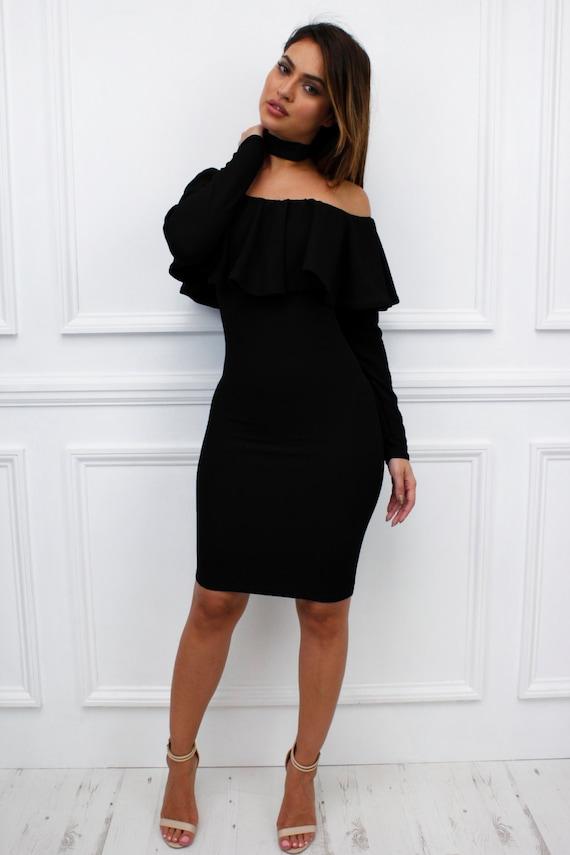 "Womens Ladies ""Essie"" Black Off Shoulder Bardot  Long Sleeve Frill Ruffle Midi Bodycon Dress"