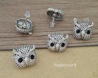 20pcs 13mmx15mm antique Silver owl Ear hammer  Base