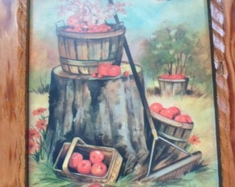 Vintage Coby Apple Orchard Print Rustic Wood Plaque  *Country* Cottage* Charm* IOB