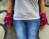 Plum colors, flowers, fingerless gloves  -    Fingerless Gloves  Gloves & Gift Ideas, For Her, Winter Accessories, Xmas Gift
