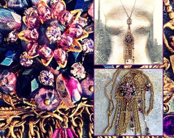 Antique cross amethyst flapper assemblage art deco long statement necklace