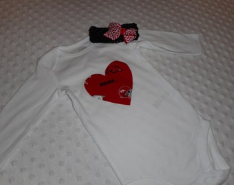 Arkansas Razorback Hogs Baby Girl Bodysuit & Hair Bow Outfit Set - Razorback Outfit - Baby Girl Razorback Heart Bodysuit