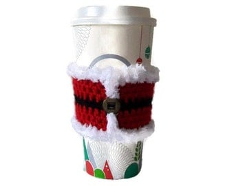 Santa Jacket Crochet Coffee Sleeve, Christmas Coffee Cozy