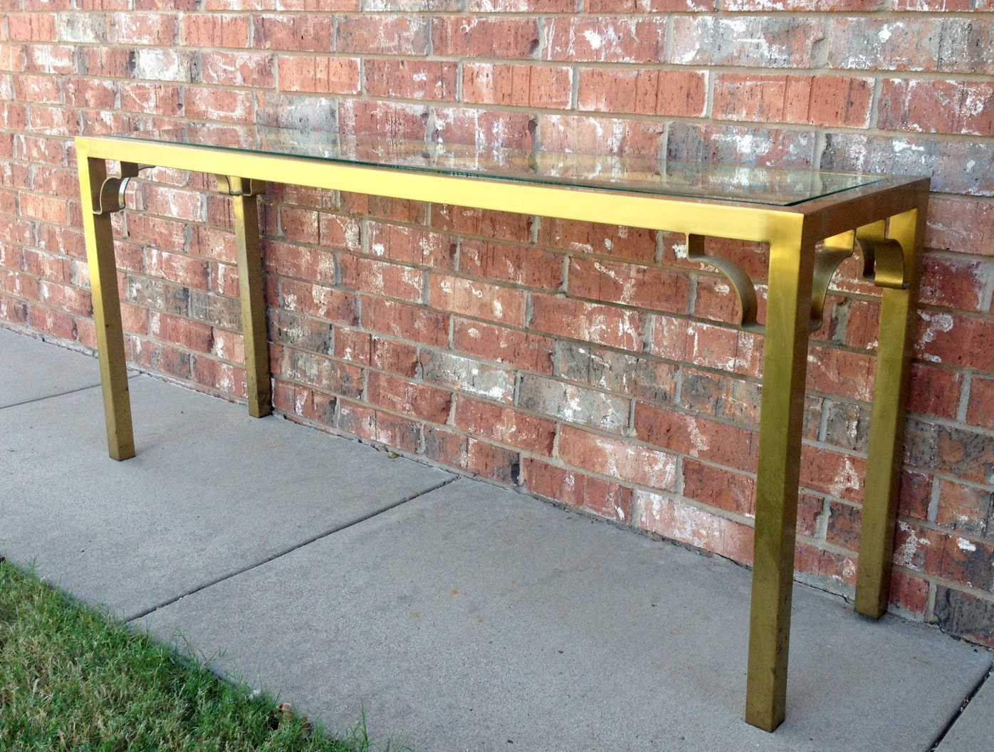 Vintage brass and glass console table haute juice - Table haute console ...