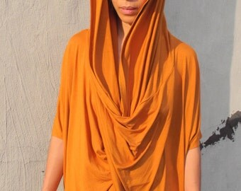 Tangerine Hooded Tunic / Dress OS