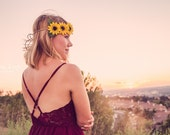 Sunflower Flower Crown - Flower Crown - Silk Flower Headband - Flower Halo - Dainty and Dapper
