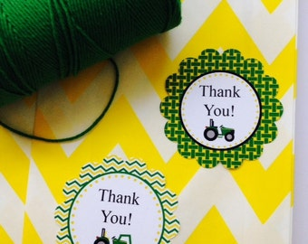 Tractor Thank You Tags or Personalized Tractor Tags ~ Set of 12 ~ John Deere Inspired Party