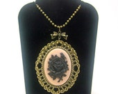 Rose Necklace, Cameo Necklace, Black Rose,  Pink Necklace, Bronze Necklace, Rockabilly Necklace, Gothic Necklace