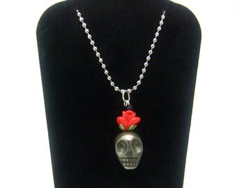 Day of the Dead Necklace, Dia de los Muertos, Skull Necklace, Rose Necklace, Goth Necklace, Rockabilly Necklace, Day, Pyrite Necklace