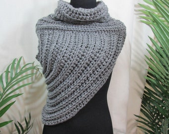 knit cowl, asymetrical vest ,katniss district 12 , Hunger Games inspired , huntress , cowl , jacket  ,archer vest , jacket , womens clothing