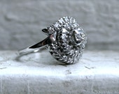 Retro Vintage 14K White Gold Fitted Two Ring Diamond Wedding Set - 1.00ct.