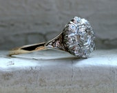 Vintage 14K Yellow Gold Diamond Cluster Engagement Ring - 0.37ct.