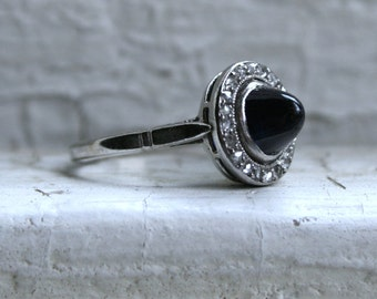 Beautiful Antique 18K White Gold Pave Diamond and Sapphire Halo Ring - 1.20ct.