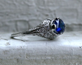 RESERVED - Pretty Vintage Platinum Diamond and Sapphire Engagement Ring - 1.09ct.