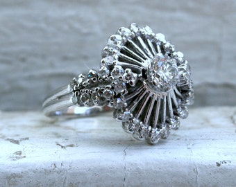 RESERVED - Vintage 18K White Gold Diamond Engagement Ring - 1.25ct.