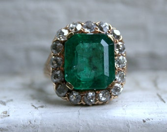 Massive Antique 14K Yellow Gold Diamond and Emerald Halo Ring - 6.60ct.