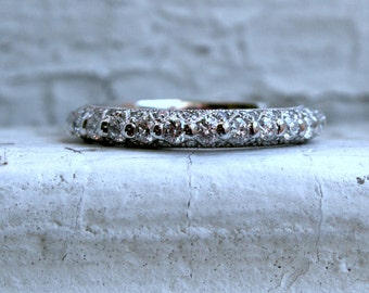 Vintage Intricate 14K White Gold Diamond Ring Wedding Band - 0.83ct.