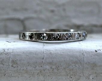 Beautiful Antique Platinum Pave Diamond Full Eternity Wedding Band - 0.40ct.