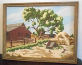 Vintage Paint by Number Painting of Old Barn and Horses with Original Frame, Country Farmhouse Decor