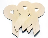 """Set of 5 Unfinished Wood Awareness Ribbons, Decorate your Ribbon for a Cause -  5 3/4"""" Tall"""