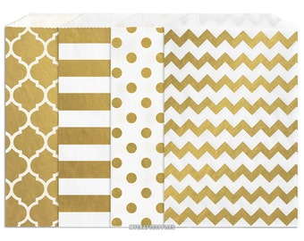 100 Assorted Gold Metallic Paper Bags, 5 x 7.5 Inch Flat Paper Bags, 25 Each Moroccan Window, Stripe, Polka Dots, Chevron