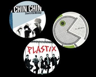 "Chin Chin, Kleenex, or Plastix 1.5"" pins"
