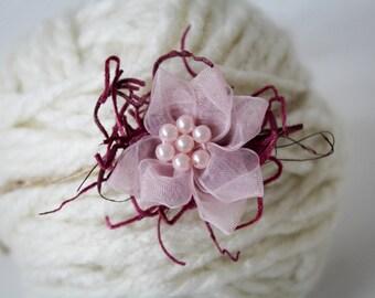 Flower Headband Tieback, Newborn Photography Prop, Newborn Headband, Pink