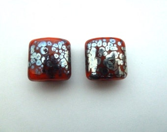 handmade orange and silver frit lampwork glass beads UK pair