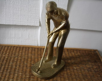 Vintage brass golfer, fathers day, man gift, man cave