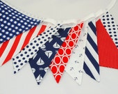 Nautical Bunting Banner, Photography Prop, Fabric Flags, Cake Smash - Boats, Anchors, Gingham, Stripes, Chevrons, Dots in Navy, White & Red
