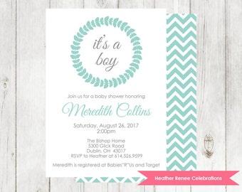 Baby Boy Shower Invitation | Printable Chevron Baby Shower Invitation | Baby Sprinkle Invite