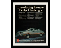 "1978 Dodge Challenger Silver Car Ad ""Beautiful GT"" Vintage Advertisement Print"