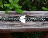 bone & camo paracord bracelet. unisex. mammal bone.