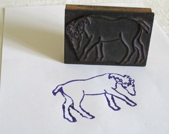 wood horse block stamp, vintage French printing stamp with pony pattern