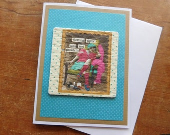 Wine Greeting Card w/ authentic Drink Coaster with tipsy girl