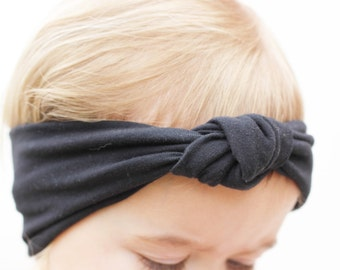 Baby Solid Black Knit Turban, Black Headband, Baby Bow Headband, Trendy Baby Headband, Modern Baby Accessory, Photography Prop