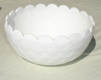 Vintage Quilted Milk Glass Serving Bowl with Scalloped Rim