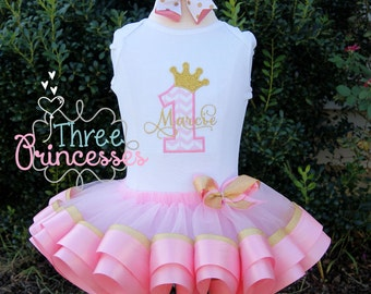 Princess Birthay Crown Ribbon Tutu Set