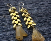 Vintage brass wheat chain and yellow rough crystal earrings